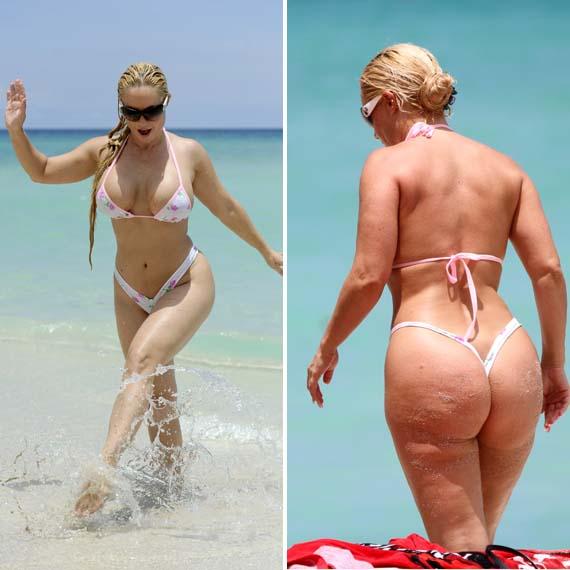Old lady in thong bikini