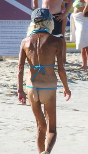 old lady in thong
